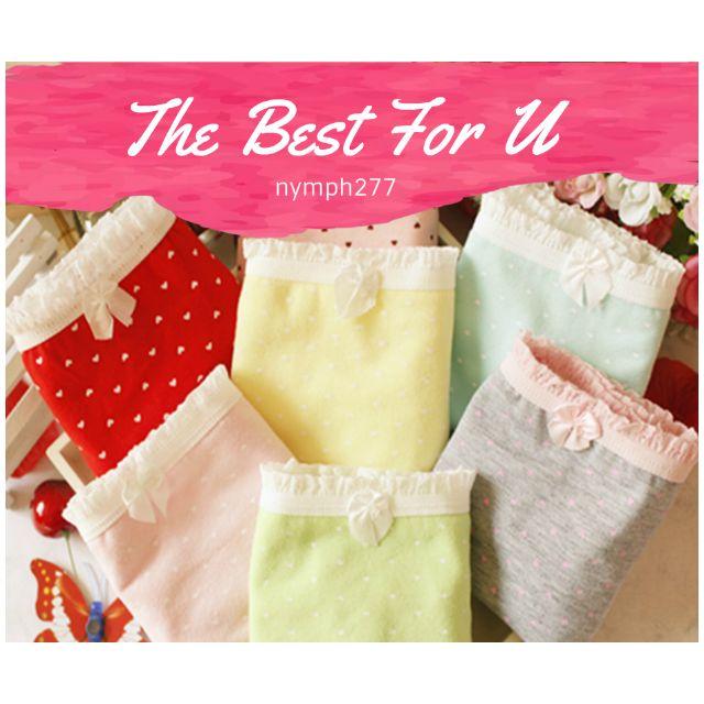 日系少女款 可愛點點白色花邊 棉質內褲 三角褲 預購 (可選色) 021