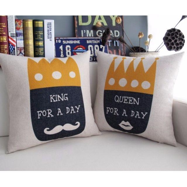 【新婚小物】情侶款 皇冠 鬍子 國王皇后 綿麻 POP抱枕 抱枕套 / 一對
