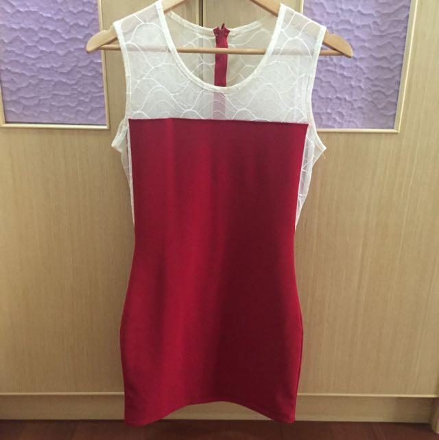 正韓 韓國 gumzzi 蕾絲紅洋裝