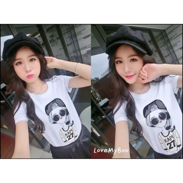 韓國個性 手工黑色亮片反戴帽子女孩印花 棉質白短袖T(現+預7-14工作天)