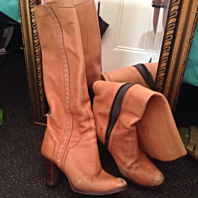 Brazil Made Leather Tan Boots