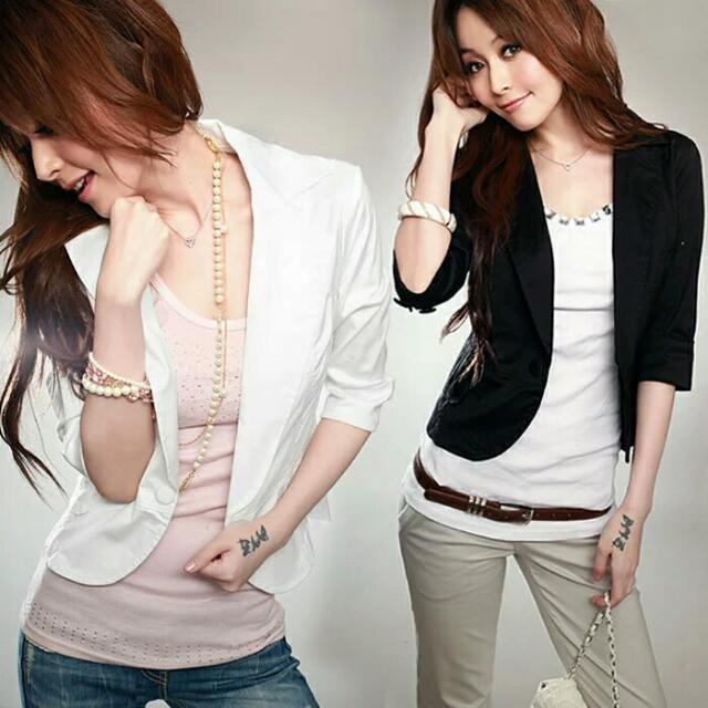 dc284e47a2063 Fashion Spring Autumn Women Casual 3/4 Sleeve Solid Slim Blazer Suit One  Button Jackets And Blazers Plus Size