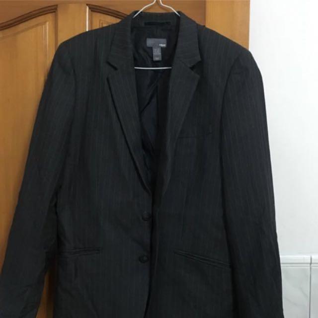 [降!]H&M深灰條紋西裝外套
