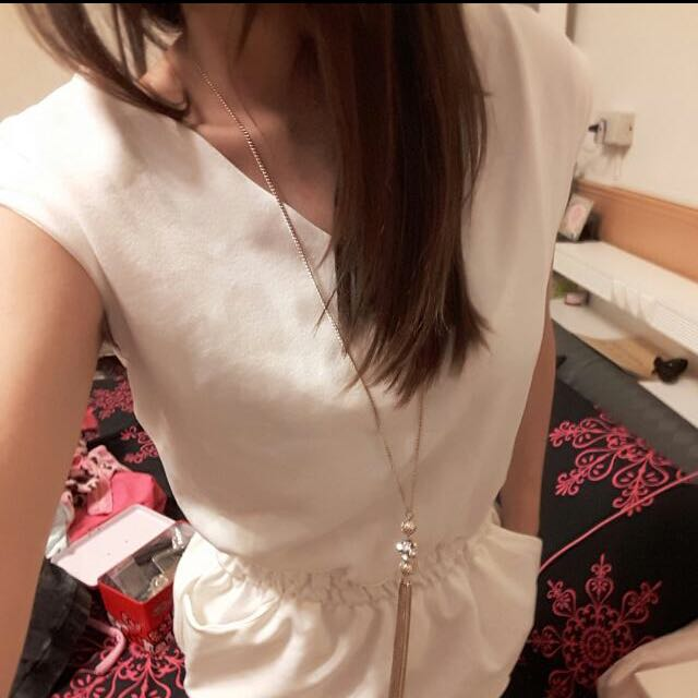 La Mode白色精品V領連身裙