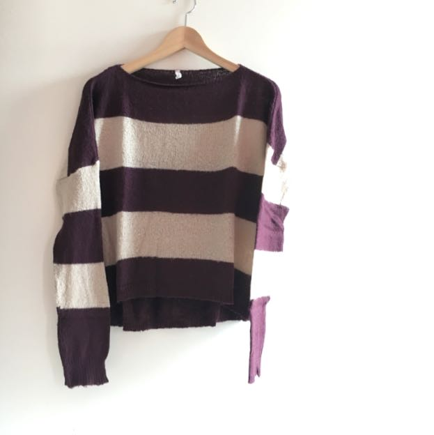 Maroon Striped Sweater