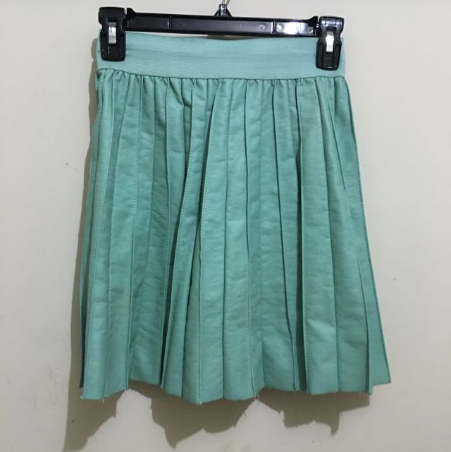 Mint Leather Pleater Skirt