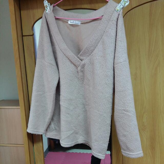 Queen Shop QS 正韓 韓製 磨毛 粉紅色 大v領 寬袖 上衣