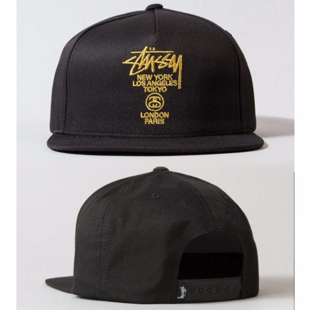 c88d67efc51 Stussy World Tour Black Gold Baseball Snapback Cap Hat Caps Hats ...