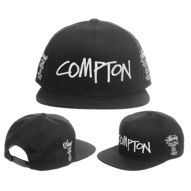 ffba96bc9b7 Stussy X Compton World Tour Straight Brim Black Snapback Cap Hat ...