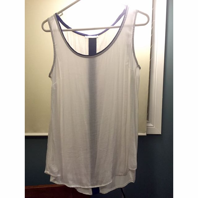 White Top with Blue Borders