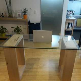 Designer Hardwood Glass Table