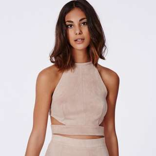TAUPE Missguided Magdelan Faux Suede Cut Out Top