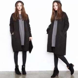 中長版寬鬆黑色口袋外套