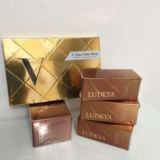 ludeya微臻眼頸精華霜5ml*1。緊緻平衡油5ml*3。提拉彈力V型膜*4片。