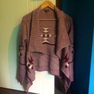 Intofashion Knit Cardigan Maroon/white