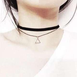 現貨+預購)復古造型三角形雙層頸鍊