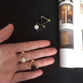 預購)復古造型三角形金屬珍珠耳針
