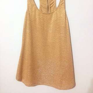 🚚 派對瘋 聖誕金 長上衣 洋裝 Spanish Stradivarius Young Fashion, ZARA Second Line Golden Shiny Party Dress Top