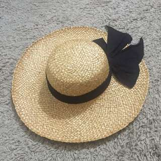 Cute Summer Straw Hat With Black Bow