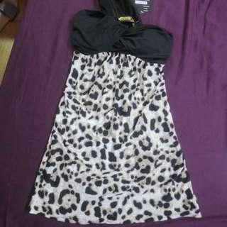 (全新實體拍攝)豹紋斜肩小洋裝