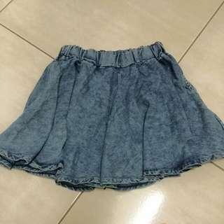 全新 刷色牛仔褲裙 小口袋