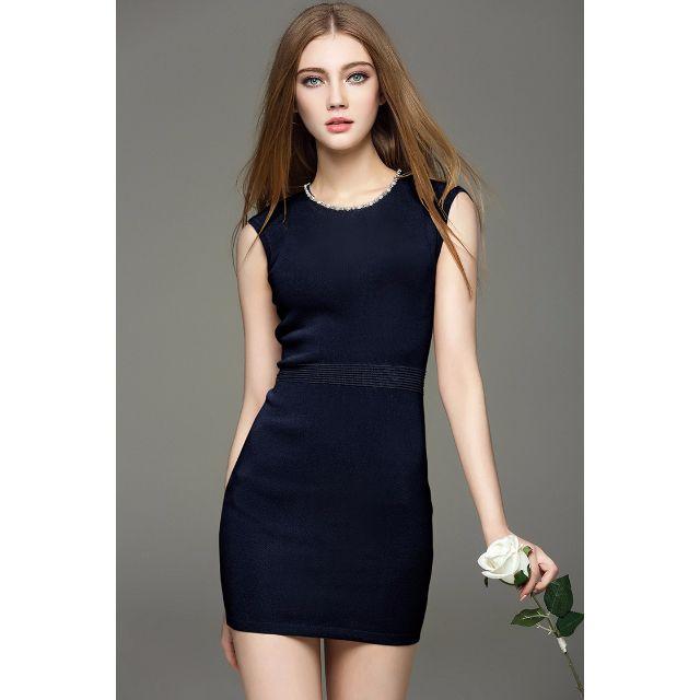 (16MC0325-2)意大利高端精品女裝優雅氣質款手工釘珠無袖包臀針織洋裝連身裙小禮服宴會禮服 S-L 2色