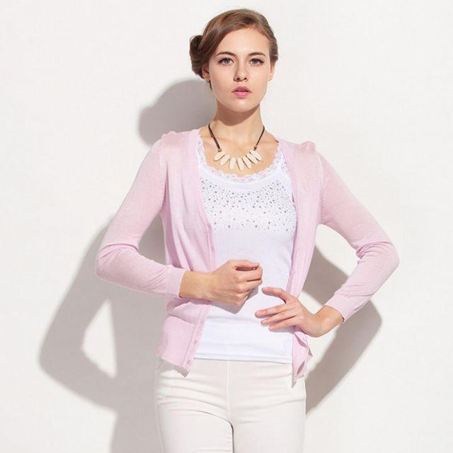 (16MC0325-3) 意大利高端精品春夏百搭修身V領純色優質針織外套開衫小外套防曬外套 有4色