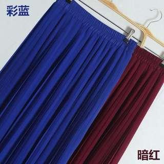 純色雪紡百褶中長裙-彩藍60cm #兩百元雪紡