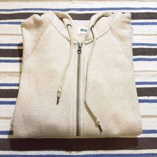 UNIQLO 卡其 米色 連帽外套 特別布料 毛巾圈內裡