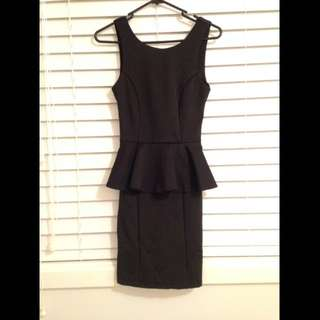 Dotti Black Peplum Dress With V Back