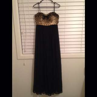 Will Hope Love Black Formal Dress With Gold Sequin Bodice