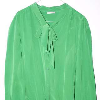 100% Pure Silk Jigsaw Green Blouse. Size 14 Womens.