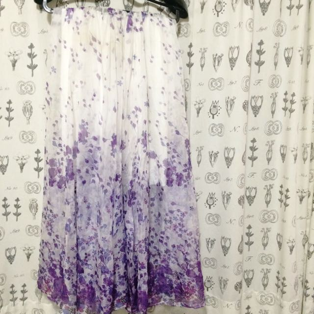 紫花長裙可穿成平口