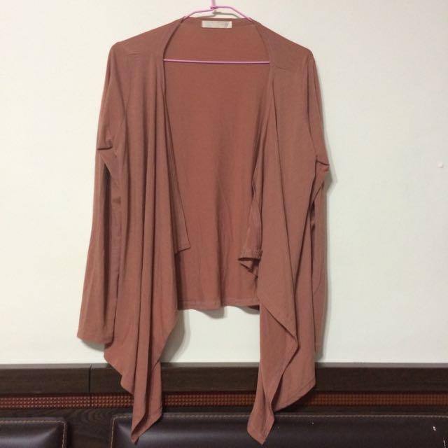 粉紅色荷葉下襬防曬薄外套