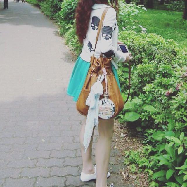 湖水綠傘狀短裙