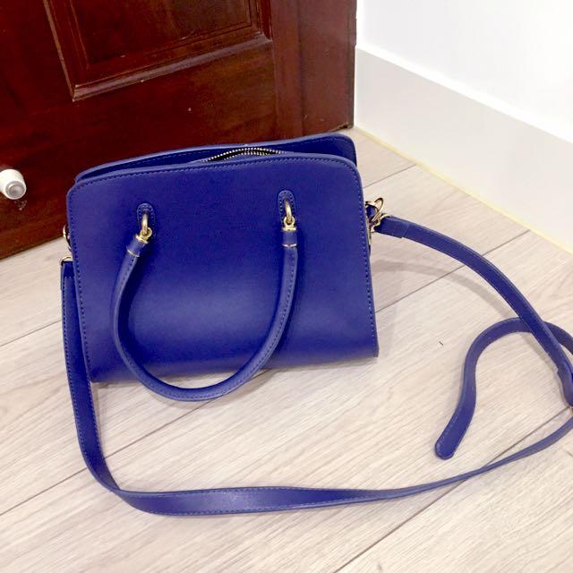 藍色方形側背包