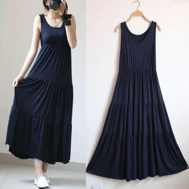 【現貨】大尺碼韓風連身洋裝 背心裙 內搭裙 孕婦裝 長版洋裝 大尺碼洋裝
