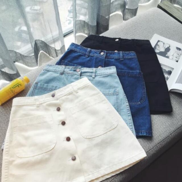 牛仔排釦牛仔裙 牛仔短裙 窄裙 包臀裙 A字裙