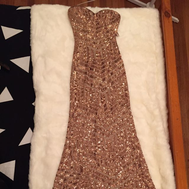 Bariano Long Sequin Dress Rose Gold