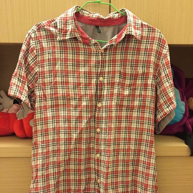 Benetton紅格襯衫