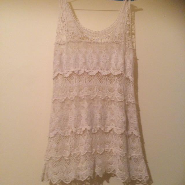Boho White Crochet Dress
