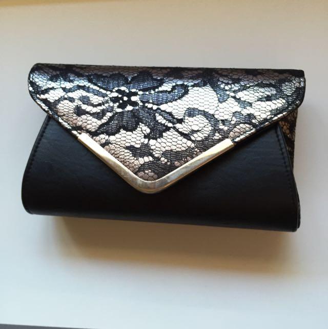 Colette Black Lace Clutch