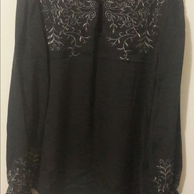 Embroidered Black Casual Top