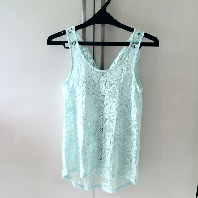 Embroisery Light Blue Tank