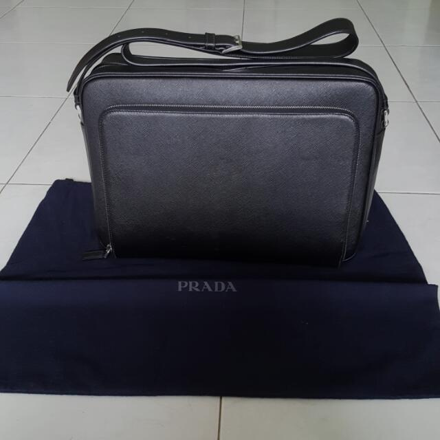 953a0bf0d51e Prada Men s Leather Messenger Bag