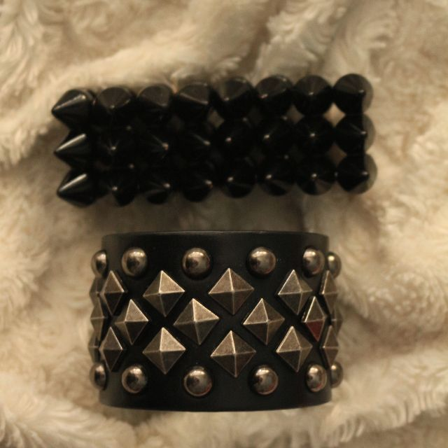 Punkish cuff and bracelet set