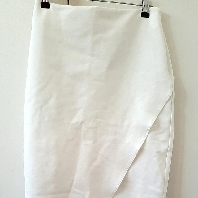 White Knee Length Seed Skirt