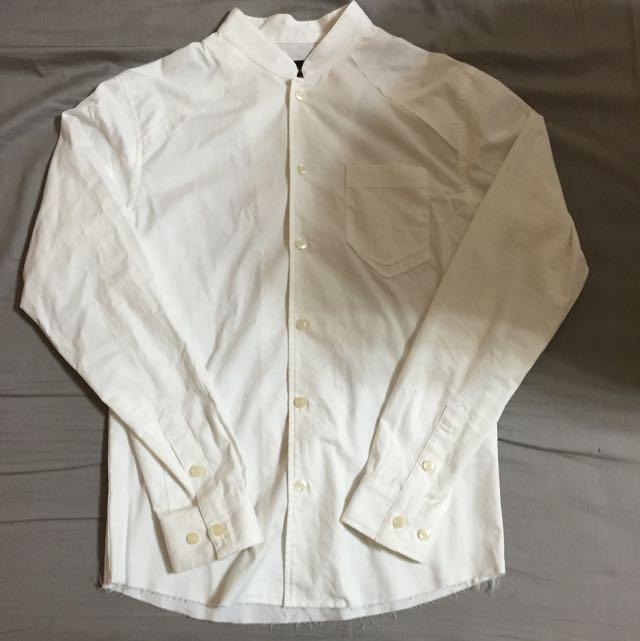 Woden 立領襯衫 下擺圓弧 白襯衫