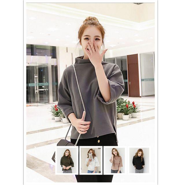 (YCS032216-1) 春季新品韓國進口優質厚實棉百搭寬鬆五分袖中高領T恤上衣襯衫洋裝針織衫 有5色