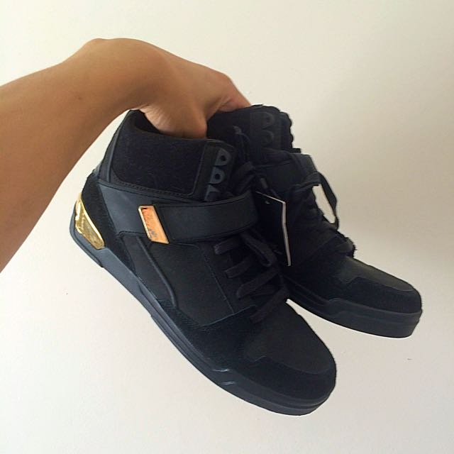 ZARA MAN Black/Gold Metal High Top Sneakers